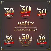 Thirty years anniversary signs collection