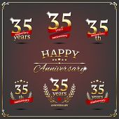 Thirty five years anniversary signs collection