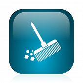 broom blue glossy internet icon