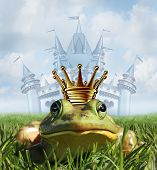 stock photo of hope  - Frog prince castle concept with gold crown representing the fairy tale symbol of hope romance and change in a transformation from an amphibian to handsome royalty after a princess kiss - JPG