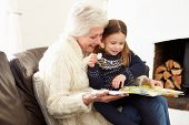 Grandmother And Granddaughter Reading Book At Home Together