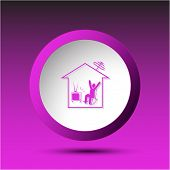 Home watching TV. Plastic button. Raster illustration.