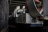 NEW YORK - MAY 22, 2014: The blades of the LCAC, air cushion landing craft, used to transport equipm