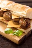 pic of meatballs  - Big sandwich with meatball on the wooden board - JPG