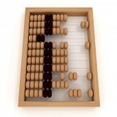 Retro abacus. 3d illustration on white background