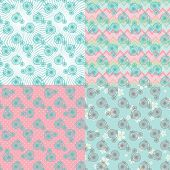 Cute Seamless Pattern Set With Retro Bicycle