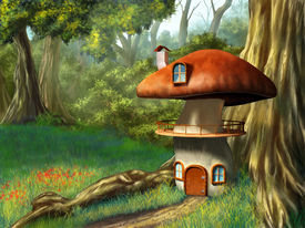picture of fantasy landscape  - Mushroom house in an enchanted forest - JPG