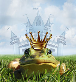 stock photo of transformation  - Frog prince castle concept with gold crown representing the fairy tale symbol of hope romance and change in a transformation from an amphibian to handsome royalty after a princess kiss - JPG