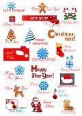 Christmas and New Year symbols set