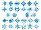Blue snowflakes icon set
