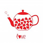 Love Teapot With Hearts. Love Card