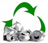 Recycle concept, metal cans for recycle isolated on white