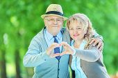 Mature couple making a heart shape with their hands in a park
