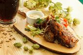 grilled meat with beer