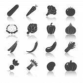 Vegetables Black Icons Set