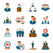 picture of employee  - Executive employee people management corporate team flat icons set isolated vector illustration - JPG