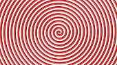 Red and white hypnotic circle 3d view