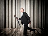 running business man and abstract background