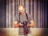 photographer portrait and concrete 3d background