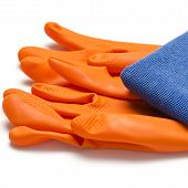 Blue Rag With Orange Cleaning Gloves