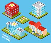 image of fire-station  - Government buildings 3d isometric set with fire station police hospital school isolated vector illustration - JPG