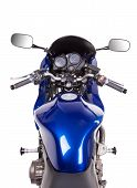Blue powerful motorcycle.