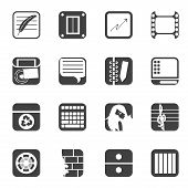 Silhouette Business, Office and Mobile phone icons