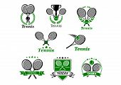 Tennis emblems or logo in retro style set