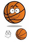 Smiling basketball ball cartoon mascot