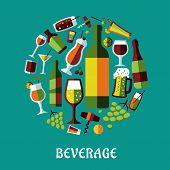 Beverage flat design poster