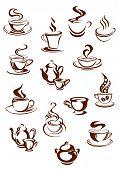 Fragrant coffee in retro style icon set