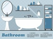 Blue bathroom interior infographic