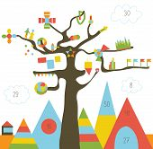 Infographic design with tree and landscape