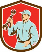 Mechanic Holding Spanner Wrench Shield Retro