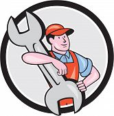 Mechanic Carry Spanner Wrench Circle Cartoon