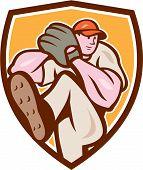 Baseball Pitcher Outfielder Leg Up Shield Cartoon