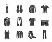 Silhouette man fashion and clothes icons