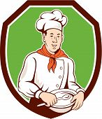 Chef Cook Holding Spoon Bowl Shield Cartoon