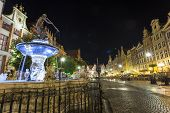 Neptune Fountain At Gdansk Main Street Called Dluga