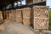 Firewood racks in a barn