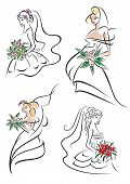 Graceful young bride icons set