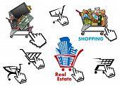 Internet market, store, shop design elements set