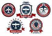 Retro flight emblem, logo, label set