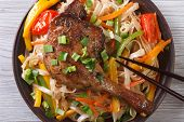 Rice Noodles With Duck Leg Closeup, Horizontal, Top View