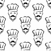 Mustached chef seamless pattern