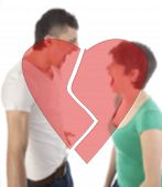 Young Man And Woman Shouting At Each Other With Broken Heart Isolated On White Background