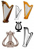 Stringed musical instruments icons set