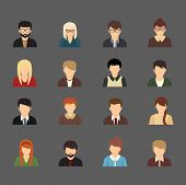 Social networks business private users avatar pictograms