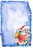 foto of letters to santa claus  - Christmas letter decorated with a smiling Santa Claus with his sack full of gifts. Illustration hand made with watercolors. - JPG