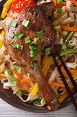Duck Leg With Rice Noodles And Vegetables  Macro. Top View